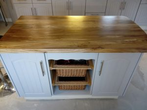 Refurbished base units with new mountain ash breakfast bar counter top